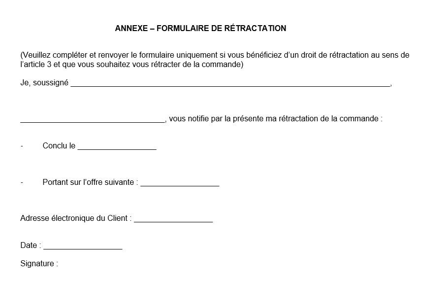 Annexe Formulaire de rétractation